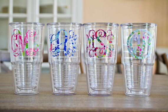Lilly Pulitzer Monogram 24 oz. Tervis Tumbler by sweett655 on Etsy