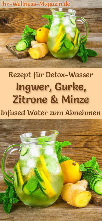 Ingwer-Gurken-Zitronen-Minze-Wasser – Rezept für Infused Water – Detox-Wasser – Ihr-Wellness-Magazin.de