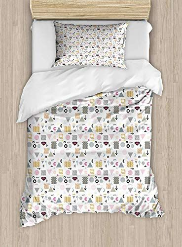 Big Buy Store Retro Twin Size Duvet Cover Set Colorful Geometrical - Geometrical-shapes-on-bedding