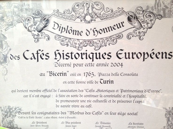 Al Bicerin Cafe's membership of the Association of Historic Cafes of Europe