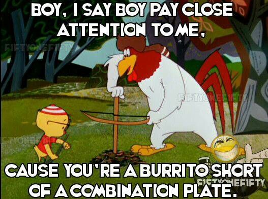 "Foghorn Leghorn - ""Boy, I say boy, pay close attention to me, 'cause you're a burrito short of a combination plate."""
