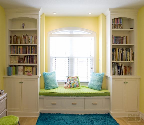 Idea for the boys rooms: built in shelves and window seat