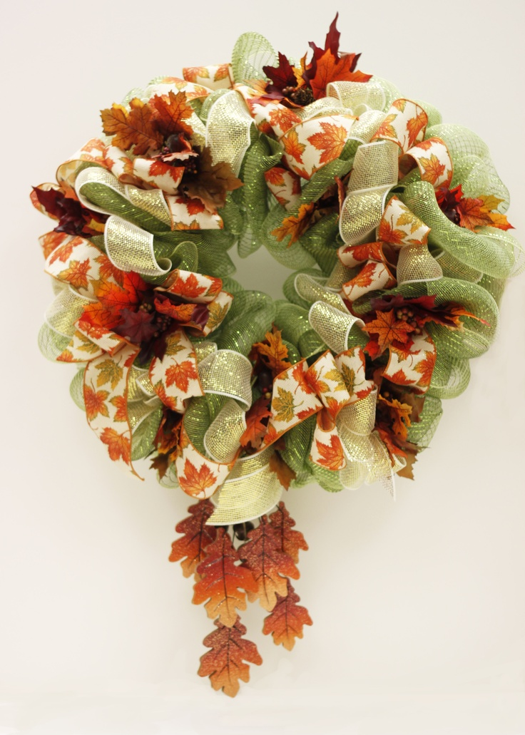 Fall Leaves Mesh Wreath by floral design specialist Linda, A.C. Moore, Waldorf, MD