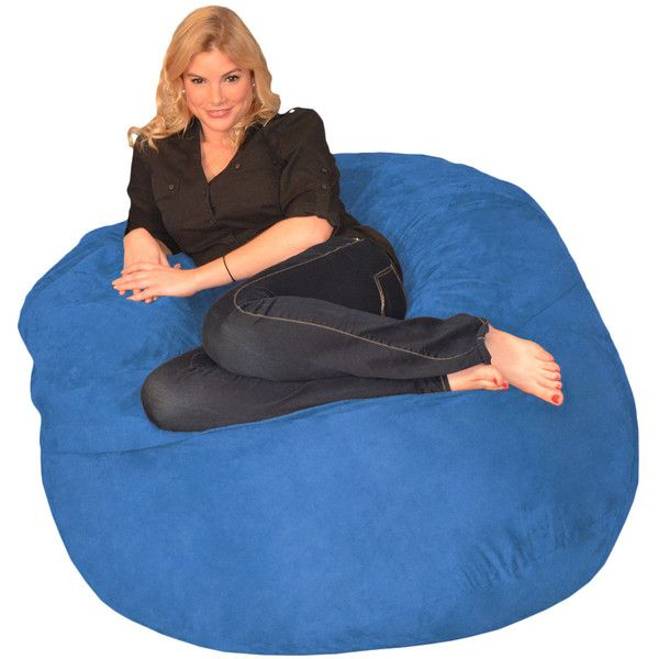 Memory Foam Bean Bag 4-foot Chair ($118) ❤ liked on Polyvore featuring home, furniture, chairs, blue, colored furniture, blue bean bag, round bean bag, blue chair and colored chairs