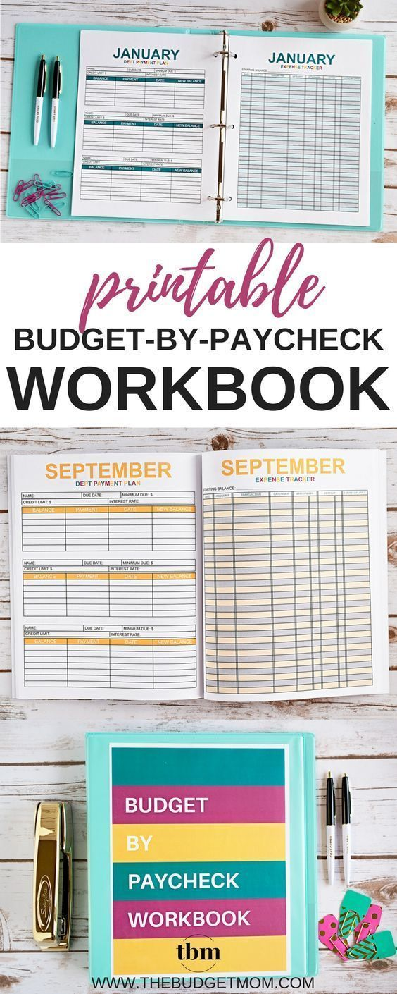 2018 budget by paycheck workbook digital download printables