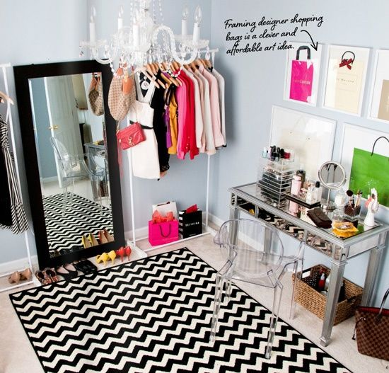 Glam Up Your Closet - This spare room was converted into a dressing room - the best idea ever! But if you dont have an extra room to spare, try sprucing up your closet space. Even a little paint on the walls and/or ceiling, a cool rug or small chandelier can make a world of difference