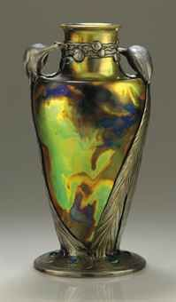 CONTINENTAL A PEWTER-MOUNTED IRIDESCENT GLAZED CERAMIC VASE, CIRCA 1900  The Collection of Elizabeth Taylor: Fine and Decorative Art & Film Memorabilia, Including Costumes (V)