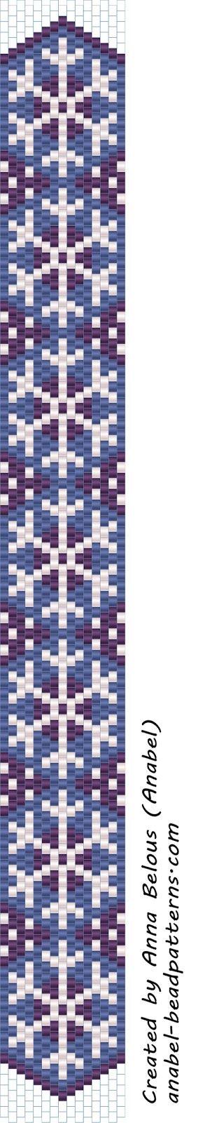 Схема узкого браслета со снежинками / Snowflake peyote pattern