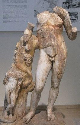 Torso statue of Dionysos with young Satyr - circa 2nd c. AD, Roman imperial period - at the Dion Museum