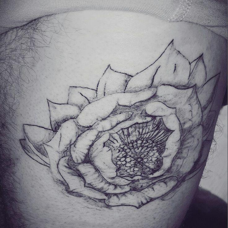 Progress realistic tattoo flower peony  K peters