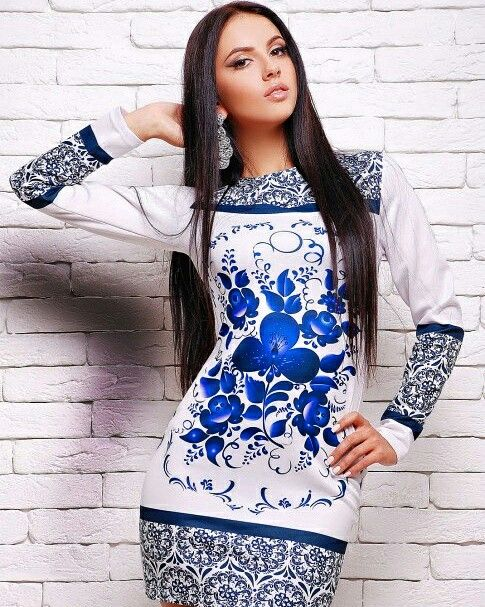 #платье с синим узором