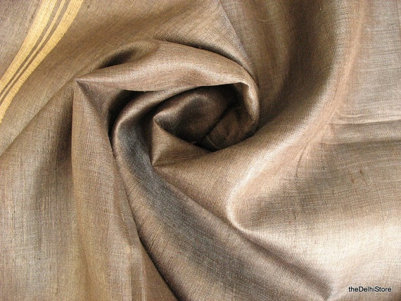 Handloom Sari  Raw Silk Fabric  Pure Silk Sari by theDelhiStore, $22.00