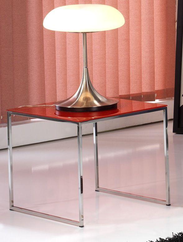 Mesa rincon mod. Albany en acero inoxidable , el color de los cristales pueden variar a petición del cliente