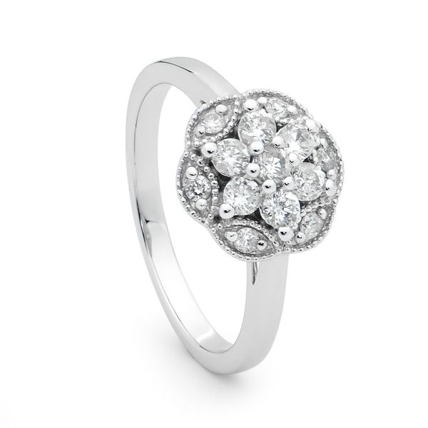 9ct White Gold Diamond Floral Cluster Ring, Dress Rings, SJ0190 Showcase Jewellers.