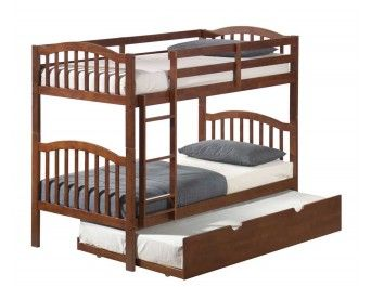 Twin/Twin Hardwood Arch Mission Bunk Bed Walnut by Donco Kids