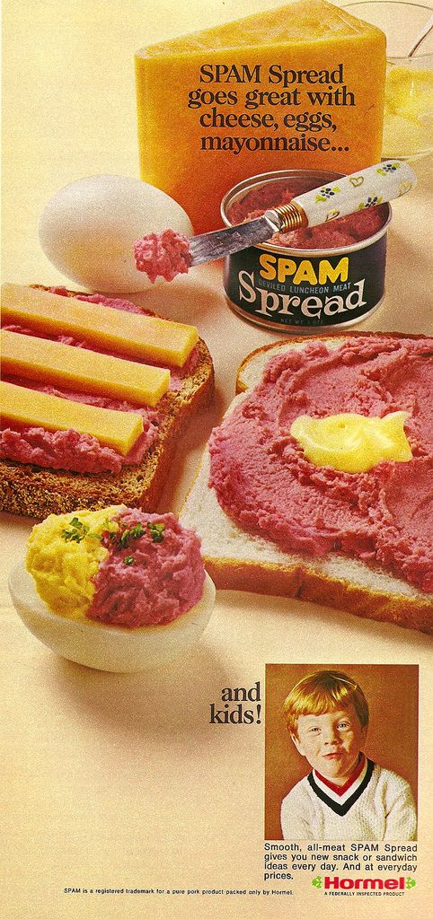 Vintage Food: Spam advertisement - Spam Spread goes great with cheese, eggs, mayonnaise... and kids!