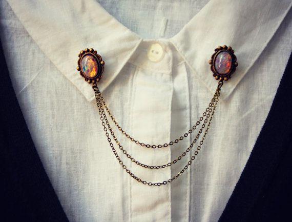 pink opal collar pins, collar chain, collar brooch, lapel pin, pink opal pin, pink opal brooch