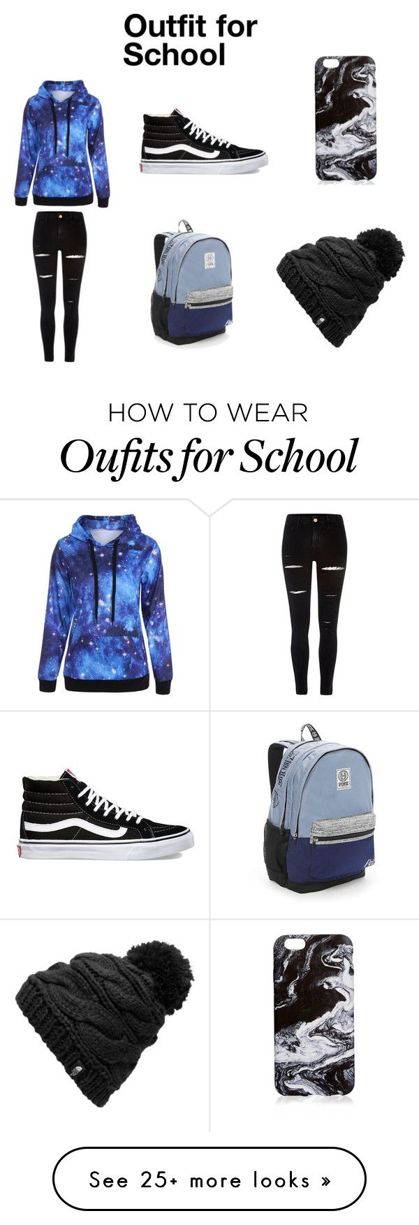 """""""Outfit for School"""" by ava-josephine on Polyvore featuring River Island, Vans, Victoria's Secret and The North Face"""