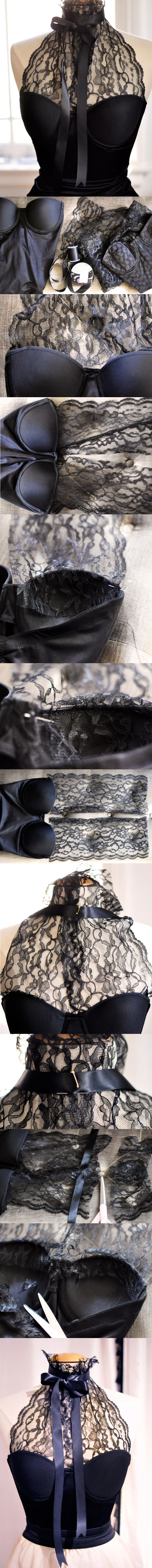 Craft Idea With Lace - step by step. This isn't actually a dress but I've been dying to wear my lace halter bustier with a pair of black satin trousers with maybe a bright red shoe and red lip.