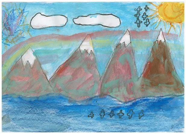 """The Snow Mountains by Jason R., Grade 1. This artwork (originally sized at 6""""x10"""") was chosen to be reproduced as a 20""""x 30"""" poster for the school's fundraiser.  Jason's Artist Statement: """"I chose the snow mountains because I like them. They are real, but the colours are from my imagination."""""""