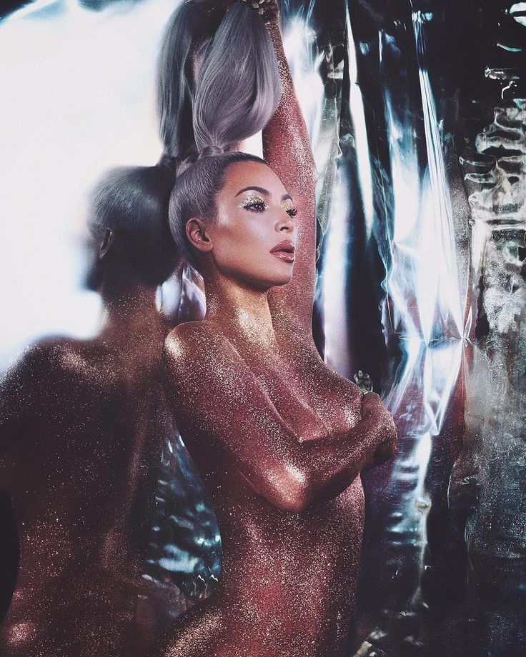 Kim Kardashian Poses Naked Covered in Glitter In Her Latest KKW Beauty Campaign | W Magazine