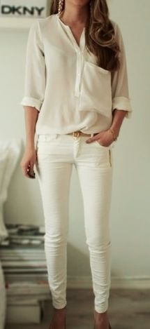 simple white blouse w/ a touch of fun. always love white on white