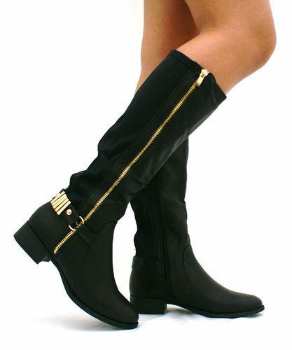 Stivali Donna Stile Biker Camoscio Col. Nero Zip Dettaglio Fibbia Varie Misure   eBay