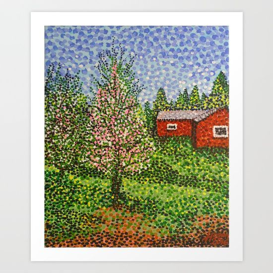 'Quick Blossoms, New Grass' by Alan Hogan @society6 . Hand-painted acrylic-on-canvas image featuring a Finnish red house, early Spring blossoms and some new grass growing in a garden.  #painting #acrylic #impressionism #spring #nature #trees #red #house #finland #blossoms #pointillism #gardens #artist