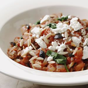 Orzo with Lamb, Olives & Feta