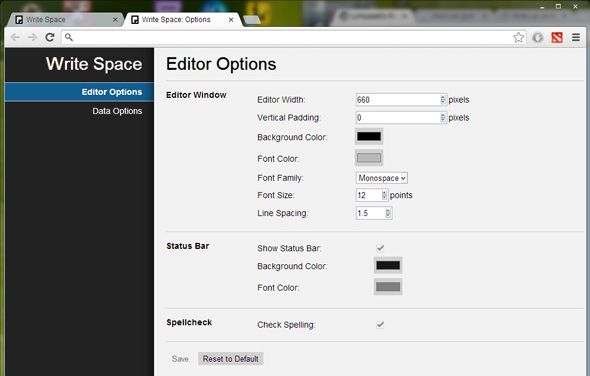 Write Space, a distraction-free text editor right in Chrome.