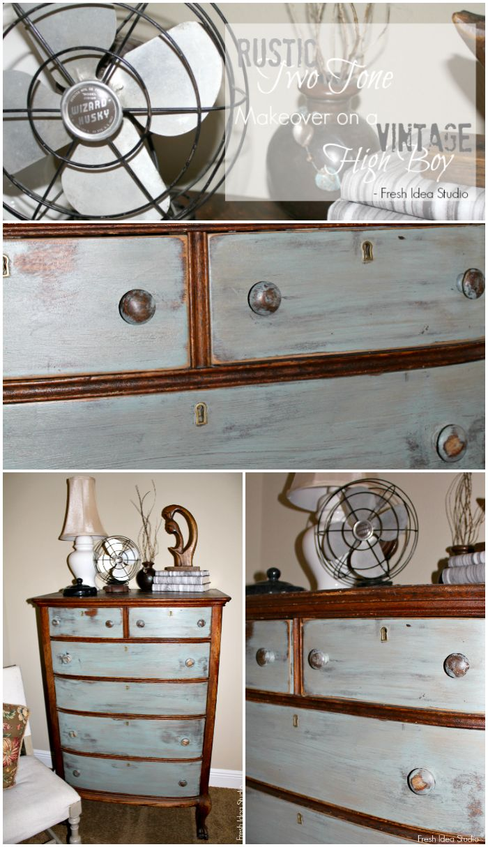Vintage High Boy gets a Rustic Two Tone Makeover at Fresh idea Studio { Themed Furniture  Makeover Day with your favorite DIY Bloggers}
