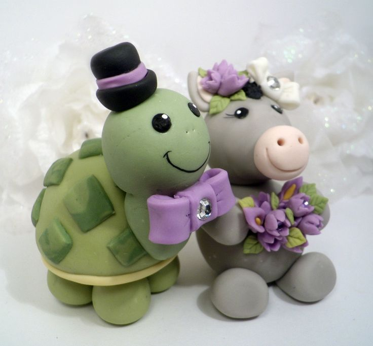 ΔΖ Turtle & ΠΚΦ Bird wedding cake topper !Custom by PerlillaPets