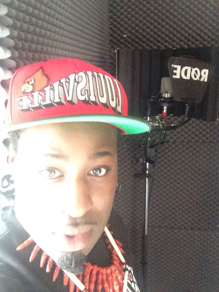 """In the recording studio working on my album """"The Red and The Black""""."""