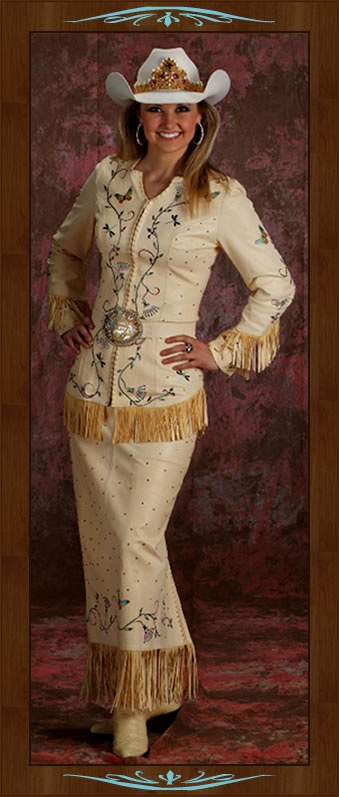 Amy Wilson Miss Rodeo America 2008is wearing a 2-piece dress made of vanilla lambskin, accented with handpainting and genuine Austrian Swarovski crystals. D'Anton Leather Co.