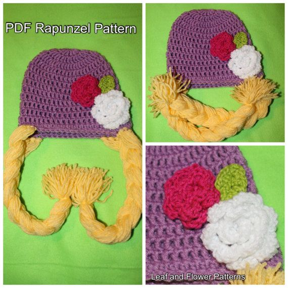 PDF Crochet Pattern for Rapunzel Beanie. Comes with 2 Flower Patterns and Leaf Pattern. 1 Year - Adult Sizes.INSTANT DOWNLOAD