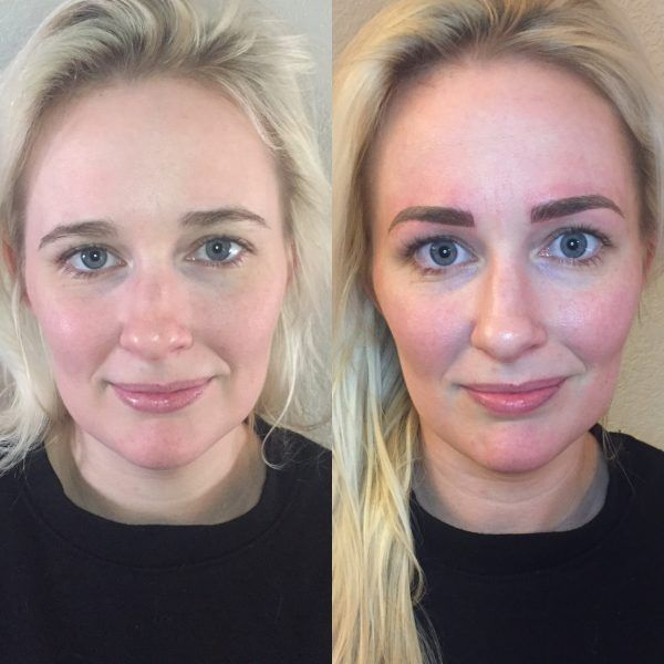 Microblading before and after picture with blonde hair and dark brows.
