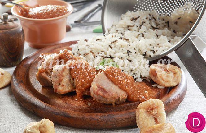 Ψαρονέφρι με σάλτσα σύκου και άγριο ρύζι   Dina Nikolaou