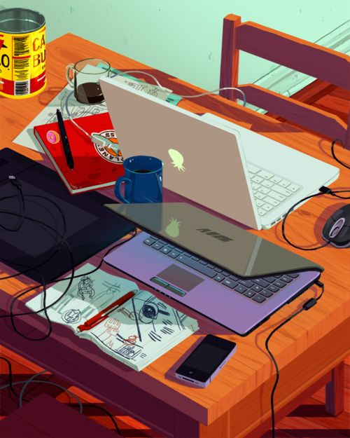 rebeccamock:PartyThis is a still life of the home studio I've...