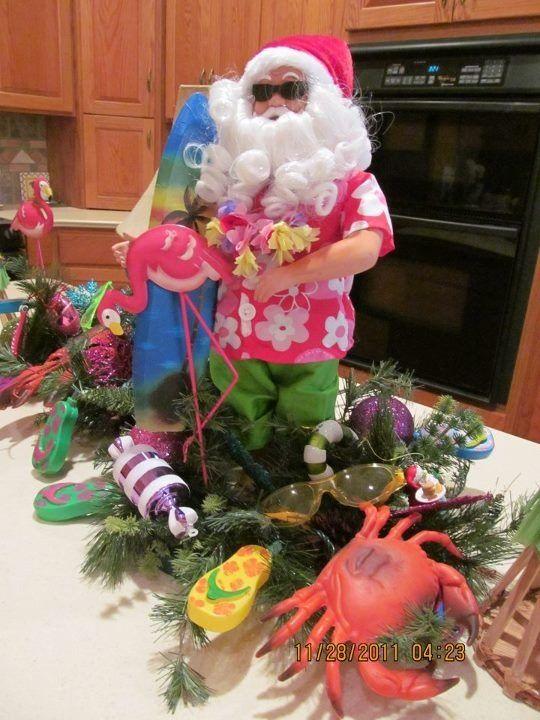 Tropical Santa with flamingo tablescape - Tropical Christmas