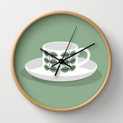 Berså coffee cup Wall Clock by bittersweat - $30.00