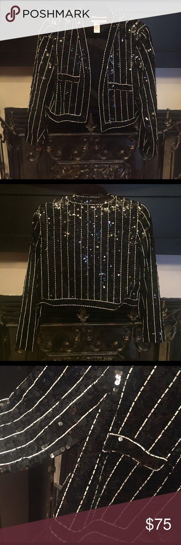 Sequin blazer Short sequin blazer with white beaded trim Vintage Jackets & Coats Blazers