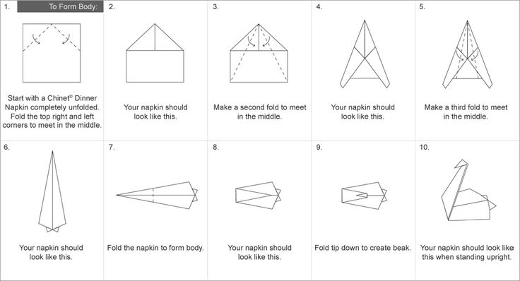 napkin swan folding instructions