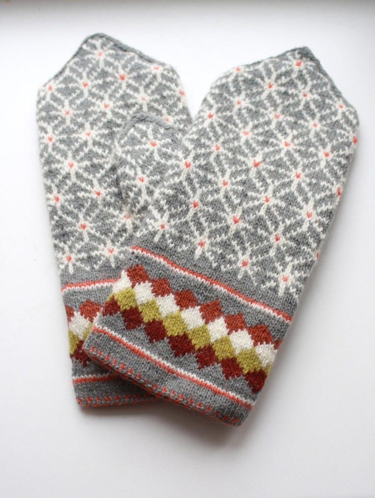 hand-knit latvian mittens