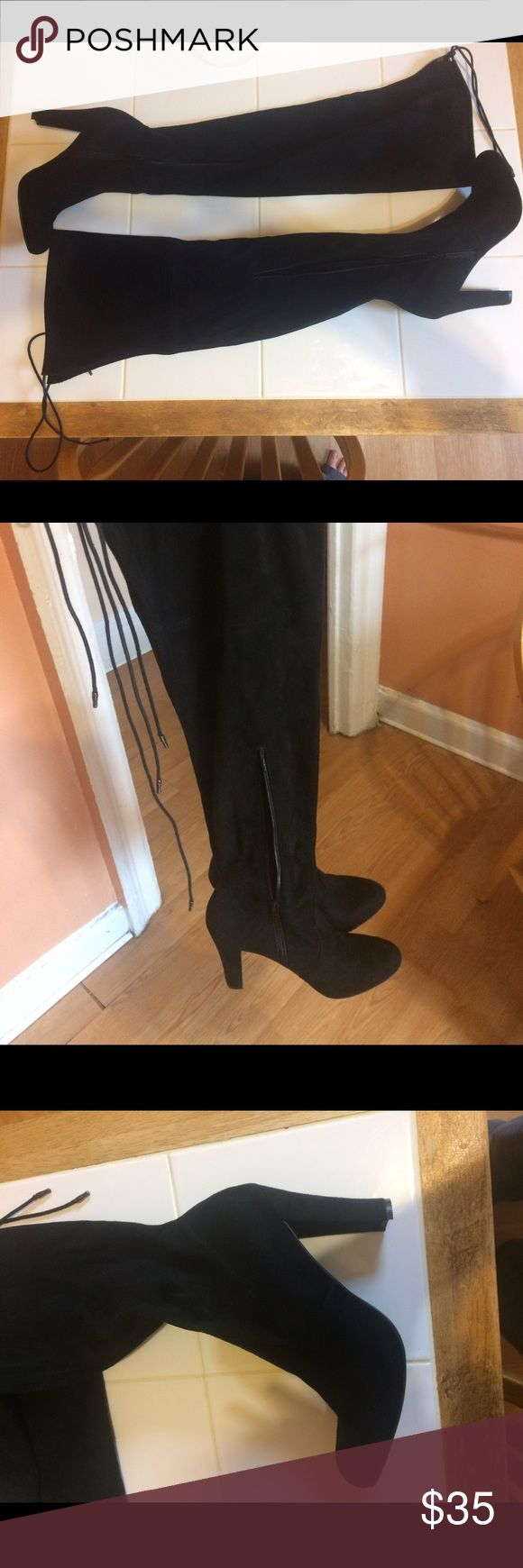 Black Thigh High Boots Brand new pair of black thigh high boot heels from Target! Never worn before. Has a tie behind the thigh. Zips on inside of ankle. Journee Collection Shoes Over the Knee Boots