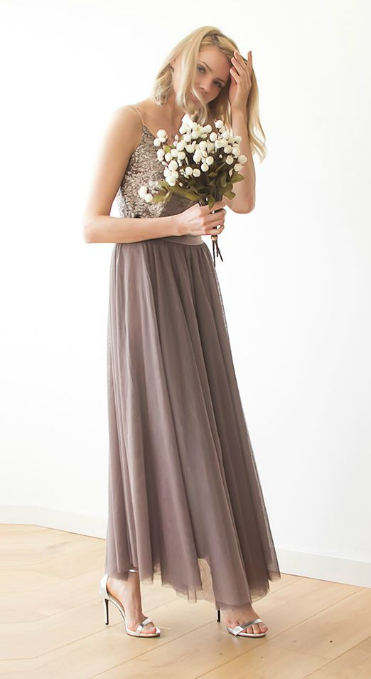 Neutral bridesmaid separates | Tulle maxi taupe bridesmaids skirt Maxi tulle by BLUSHFASHION on Etsy
