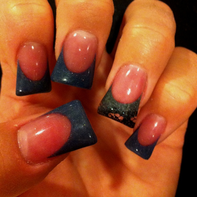 At your finger tips salon! Nails by crystal acrylic fade to lace