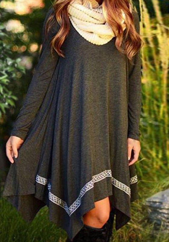 Grey Plain Irregular Collarless Long Sleeve Casual Spandex Mini Dress
