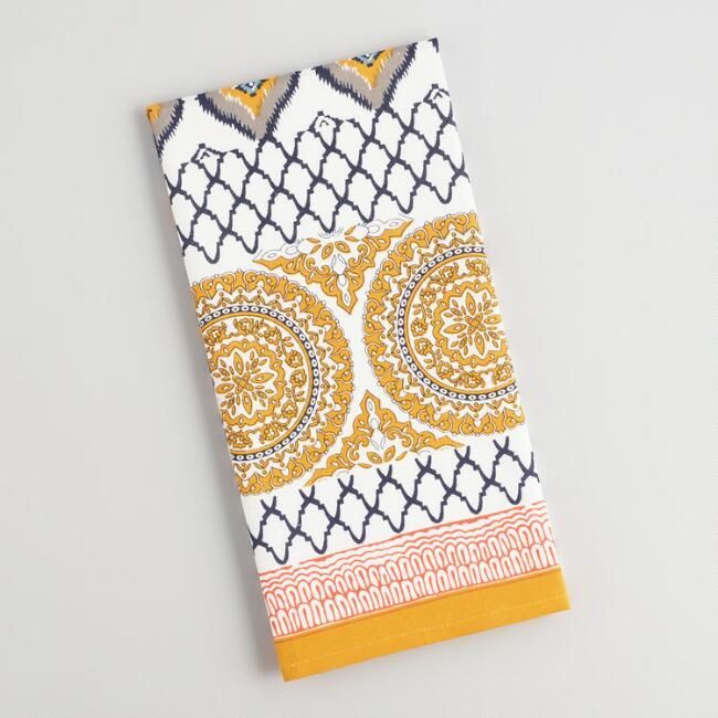 Yellow and Blue Jaipur Patchwork Kitchen Towel - World Market