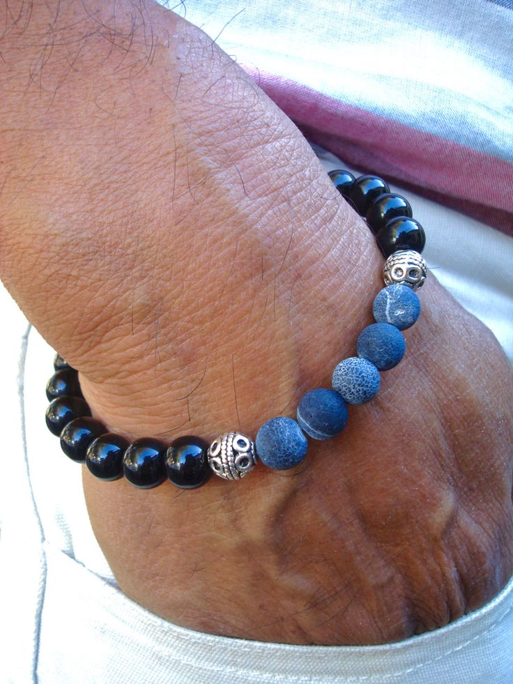 Men's Spiritual Healing, Love Protection Bracelet with Semi Precious Blue Matte Agates, Black Jasper, Bali beads - Classy Man Bracelet by tocijewelry on Etsy