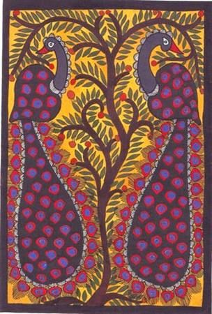 Peacocks and Tree - Madhubani paintings from Mithala